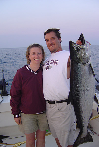 Salmon caught on Lake Michigan